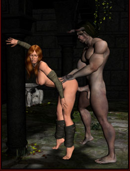 Redhead fucked by Hell Creature